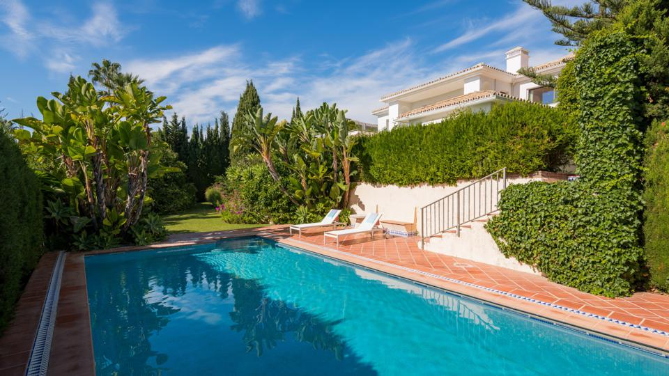 swimming pool at a luxury villa in los monteros spain