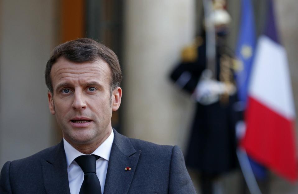 French President Macron Hosts  Mohamed El-Menfi And Moussa Al-Koni At Elysee Palace