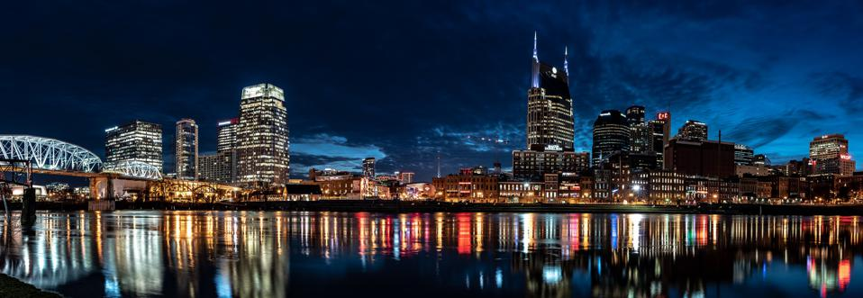Downtown Nashville at night.