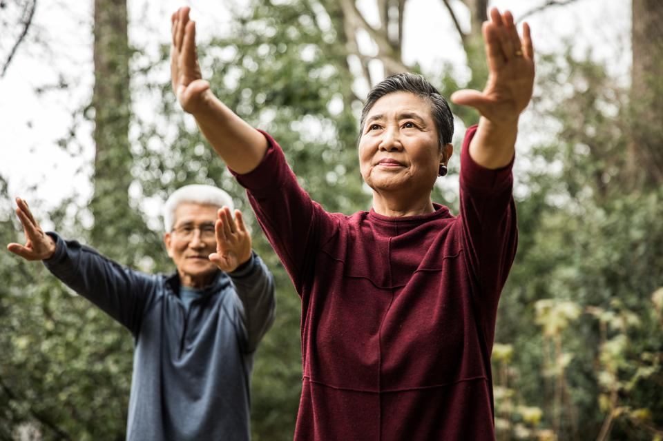 Senior couple doing Tai Chi outdoors