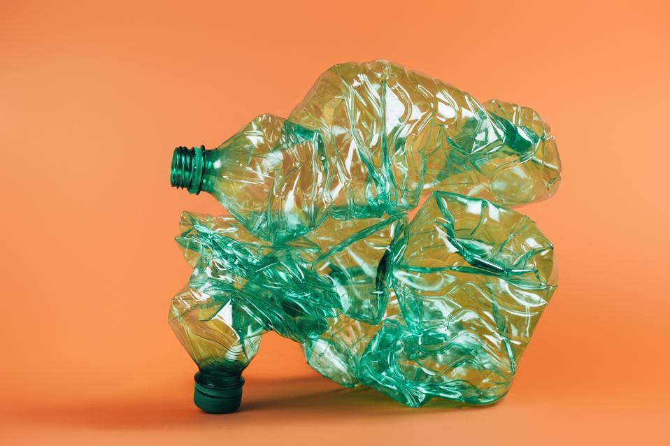 Composition of green plastic bottles