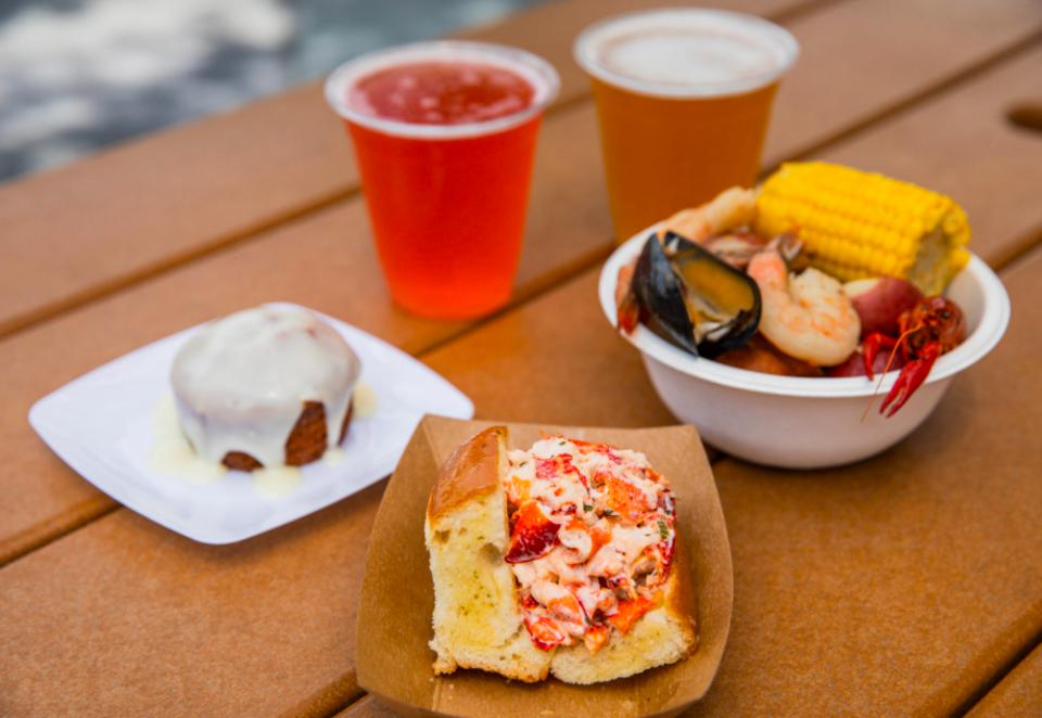 Freshly Baked Carrot Cake, New England Lobster Roll and Southern Seafood Boil, beer.