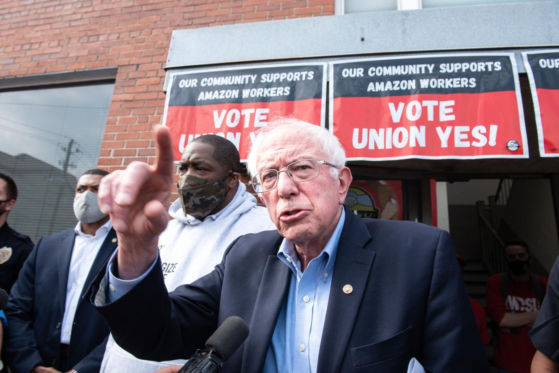 Senator Bernie Sanders traveled to Alabama on March 26, 2021 to throw his support behind the union.