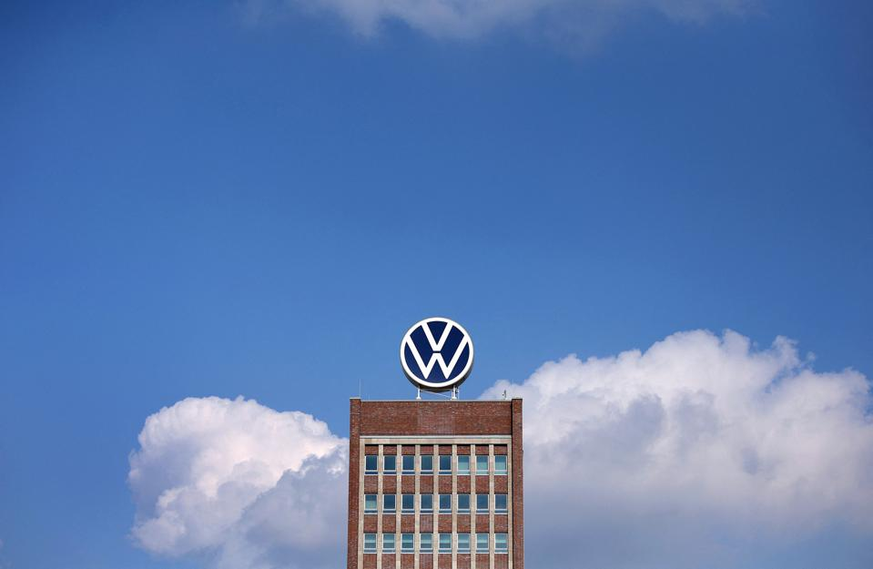 The logo of carmaker Volkswagen is pictured on the roof of the company's headquarters.