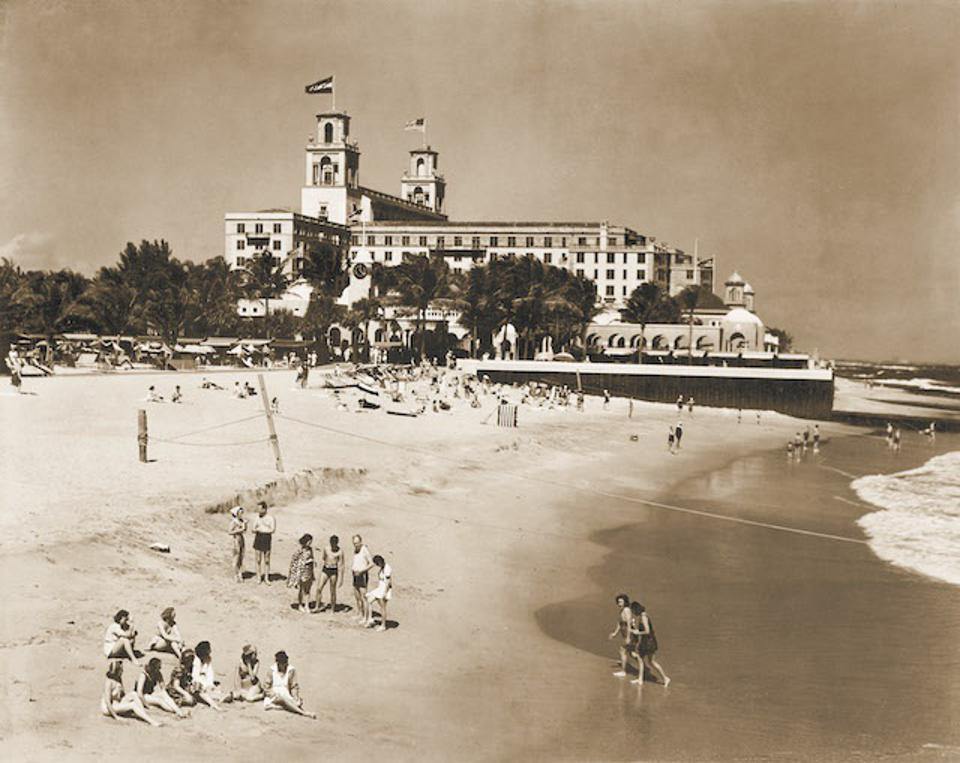 Beachfront at The Breakers, vintage photograph