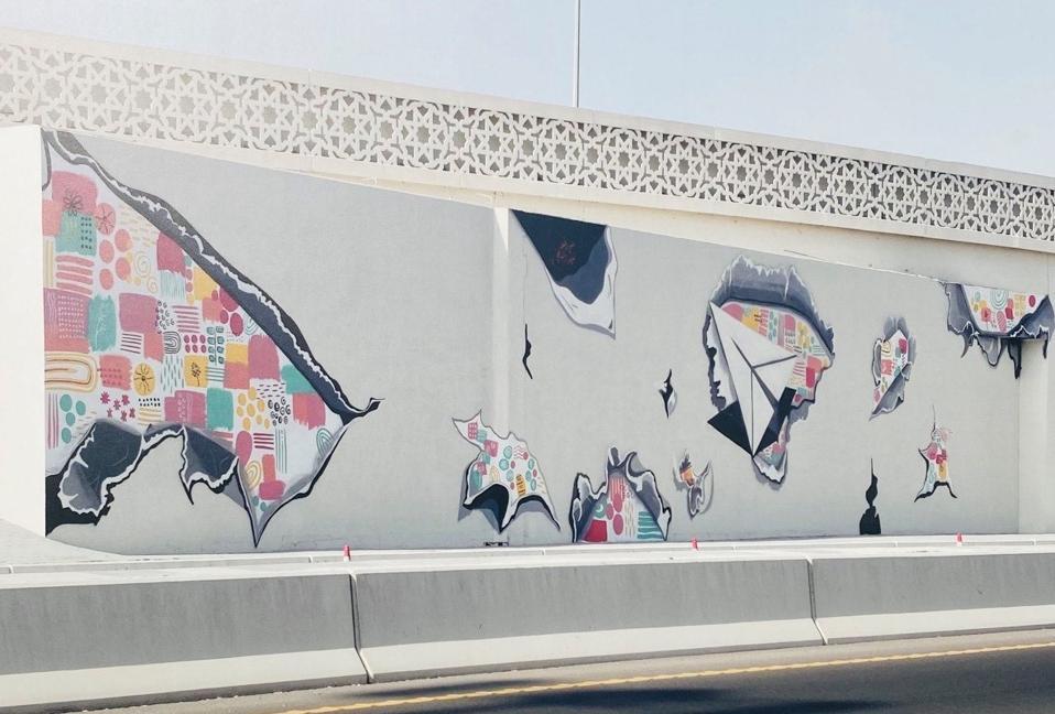 Street art along the Dohar Expressway