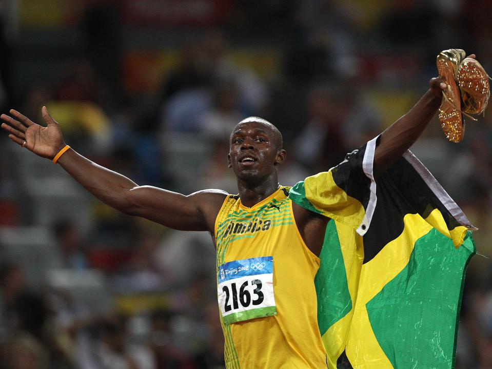August 16, 2008, Usain BOLT of Jamaica sets the world record at 9.69 when he wins the 100 m dash fin