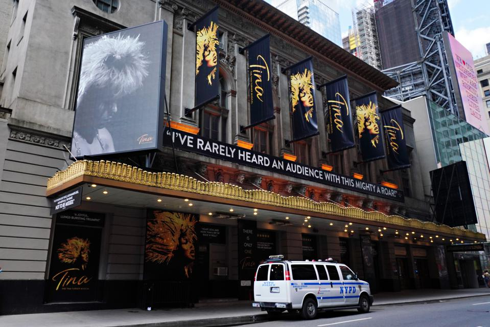 Atmosphere outside of the Lunt-Fontanne Theatre on June 29, 2020