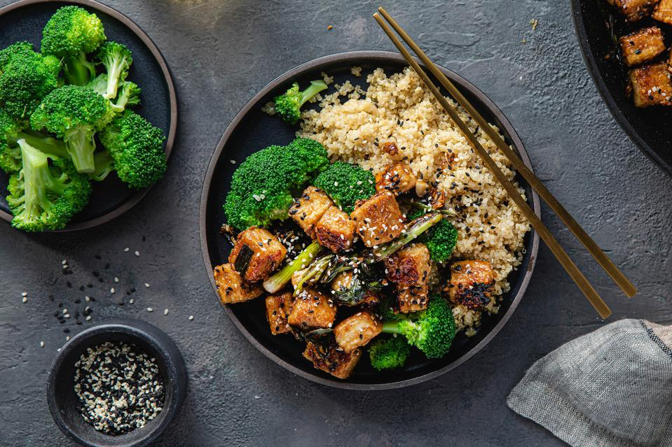 Overhead view of vegan General Tso's Tofu Bowl from Purple Carrot