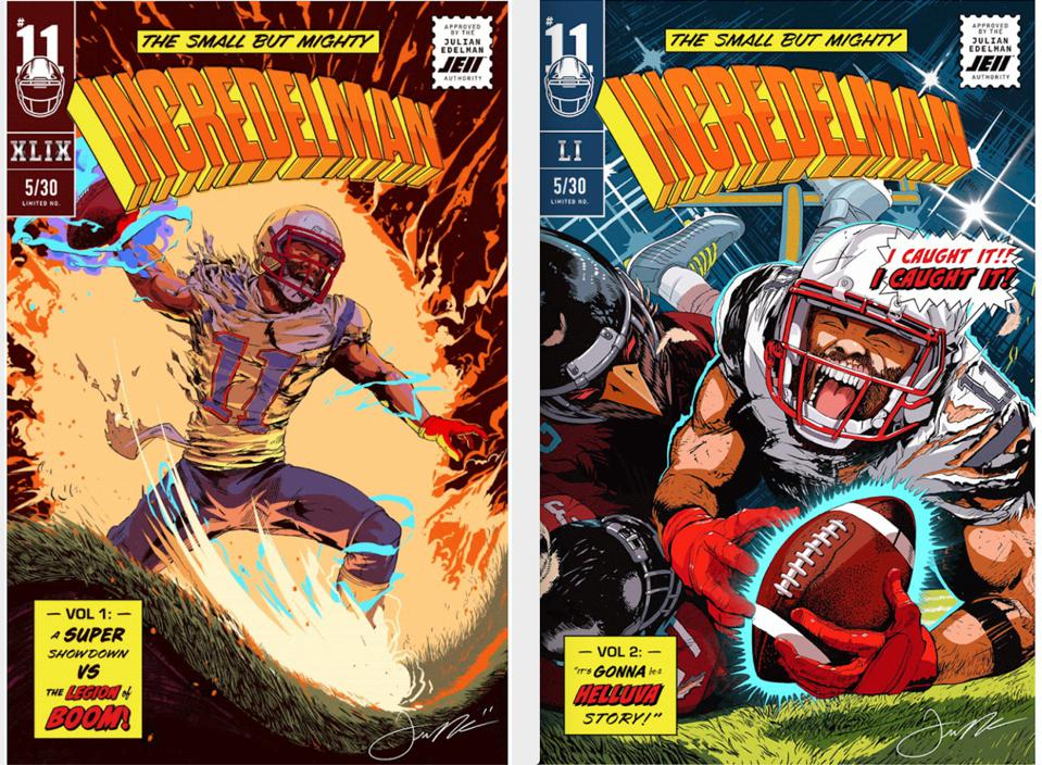 Julian Edelman appears as 'Incredelman' in his own NFT comic book series.