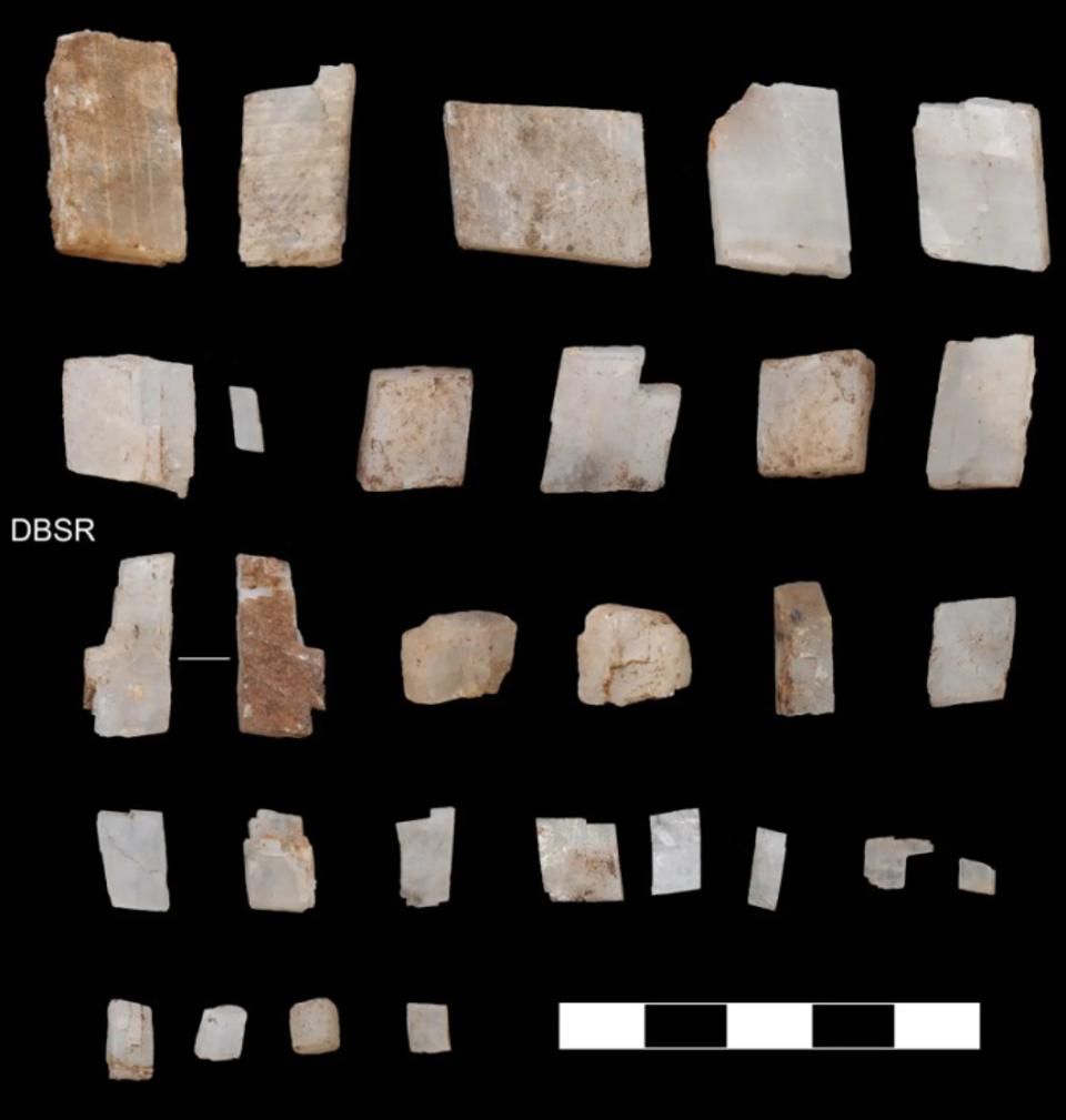 Calcite crystals found at Ga-Mohana, a rock-shelter site in the Kalahari Desert, South Africa, deliberately deposited here by humans 105,000 years ago.