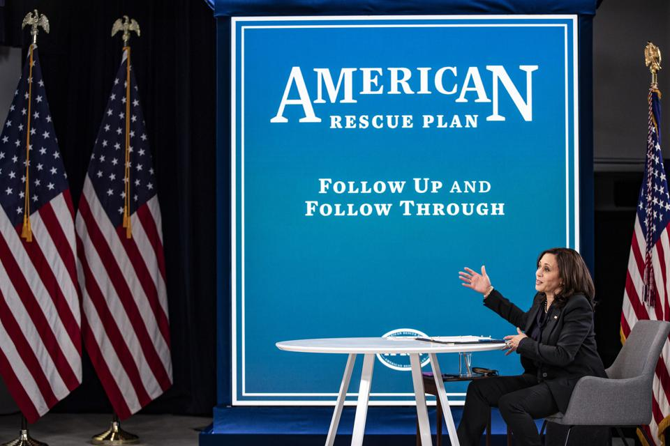 Vice President Harris Holds Virtual Briefing On American Rescue Plan
