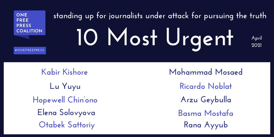 """The April """"10 Most Urgent"""" List Spotlights Online Posts and Social Media as a Catalyst for Retaliation Against Journalists"""