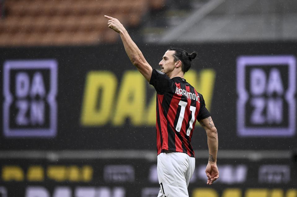 Zlatan Ibrahimovic of AC Milan celebrates after scoring a...