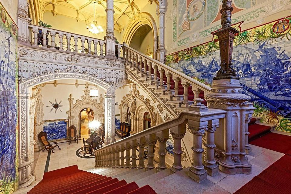 ornate details and staircase inside Brejoeira Palace, just south of Monção, Portugal