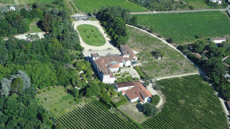 aerial view of Brejoeira Palace and vineyards portugal