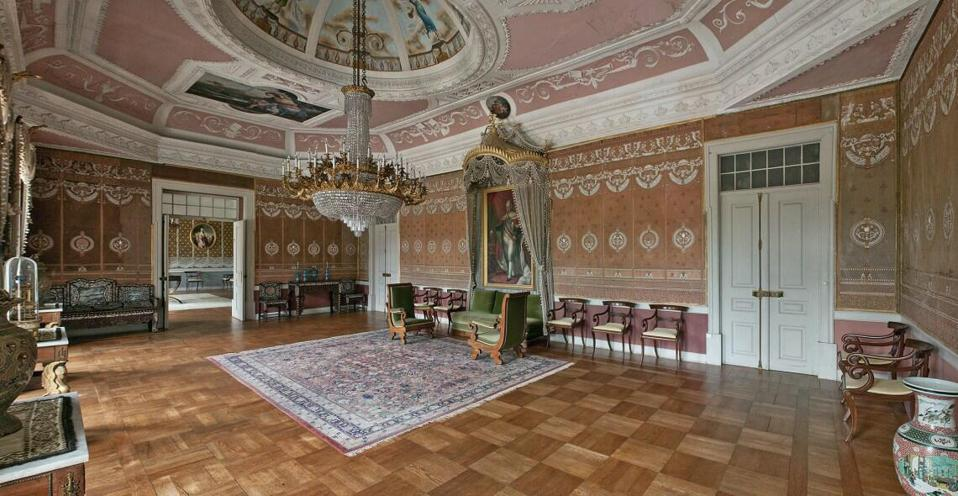 king's room with empire furniture at brejoeira palace portugal