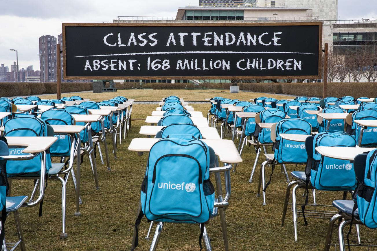 COVID-19: UNICEF unveils Pandemic Classroom at UN Headquarters in New York to raise awareness about the more than 168 million children globally without access to in-class learning for almost a full year