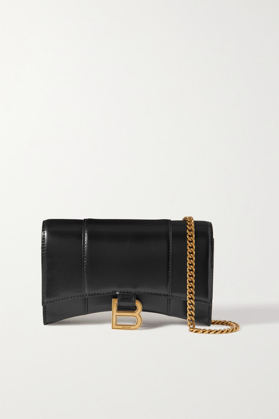 Black Hourglass leather shoulder bag