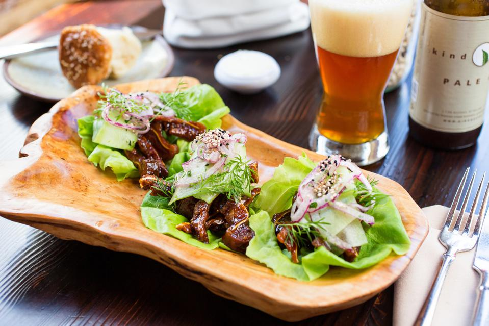 lettuce wraps and beer
