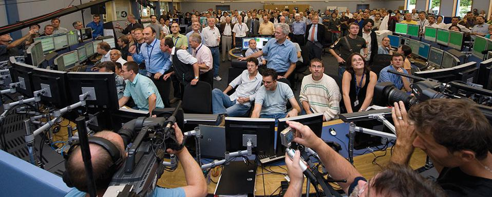 In 2008, physicists packed into the Large Hadron Collider's control room at CERN.