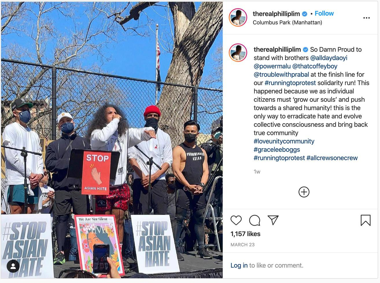 CFDA members show up in running gear for a run and rally calling for Black and Asian solidarity.