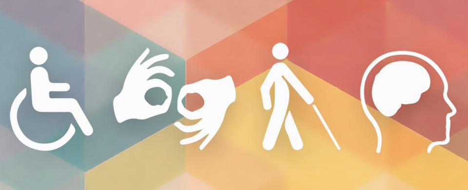 Mixed colored background with white icons in the foreground depicting various disabilities