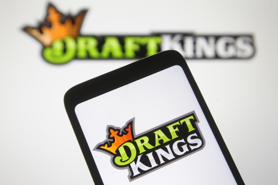 In this photo, a DraftKings logo, from the United States