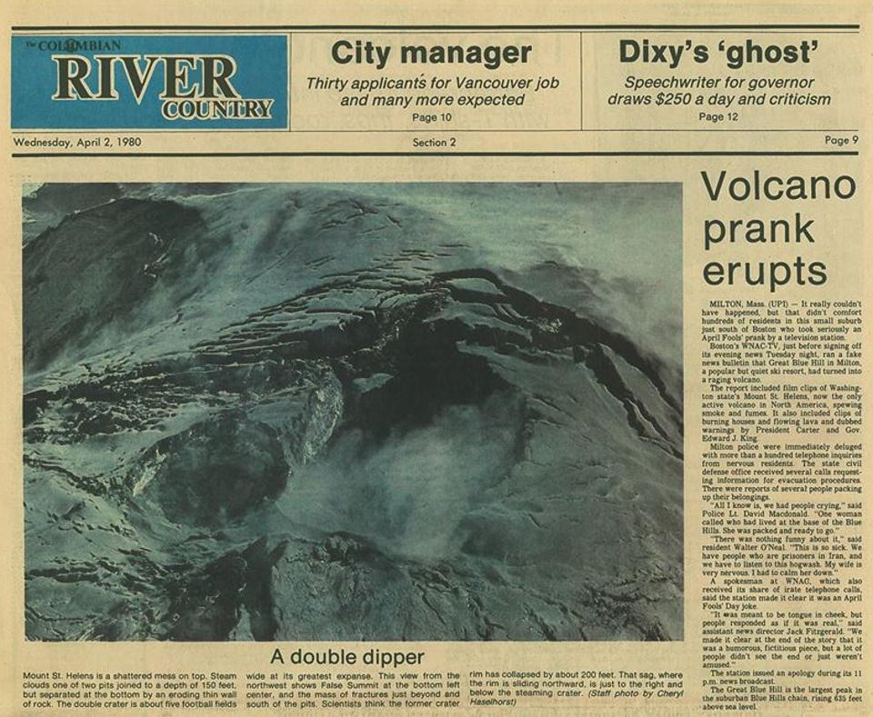 The Columbian River Country issue April 2, 1980, covering the volcano prank.