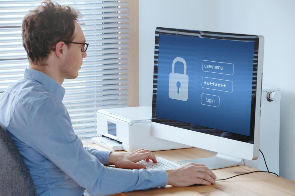 User typing password, security and privacy protection concept