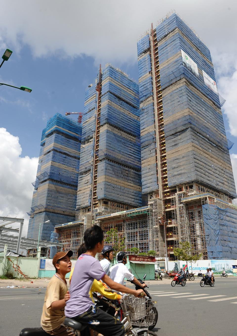 Construction of apartment buildings in Ho Chi Minh City, Vietnam.