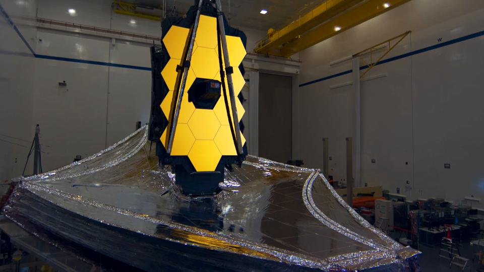 The Webb Space Telescope near completion in a scene from The Hunt for Planet B, directed by Nathaniel Kahn.