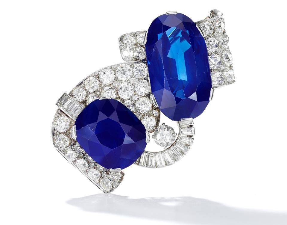 Sapphire and diamond brooch, with the largest Kashmir sapphire up for auction