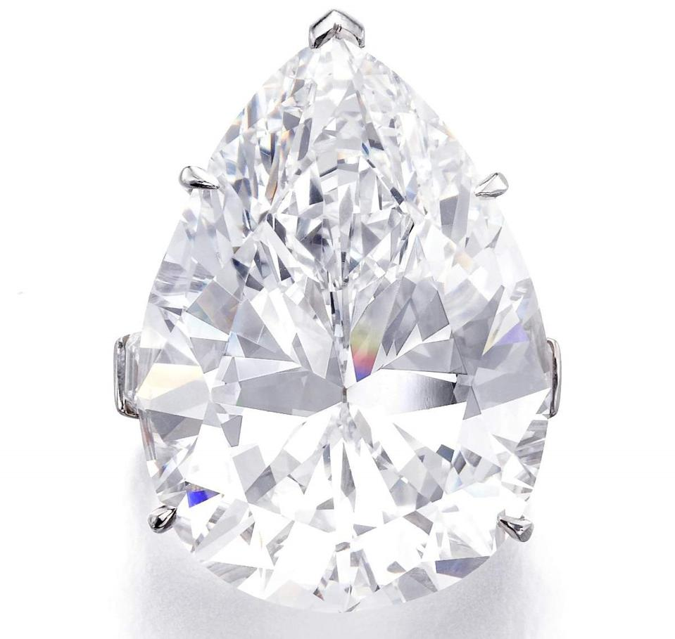 Harry Winston diamond ring set with a 43.24 carat VVS1 diamond, color D
