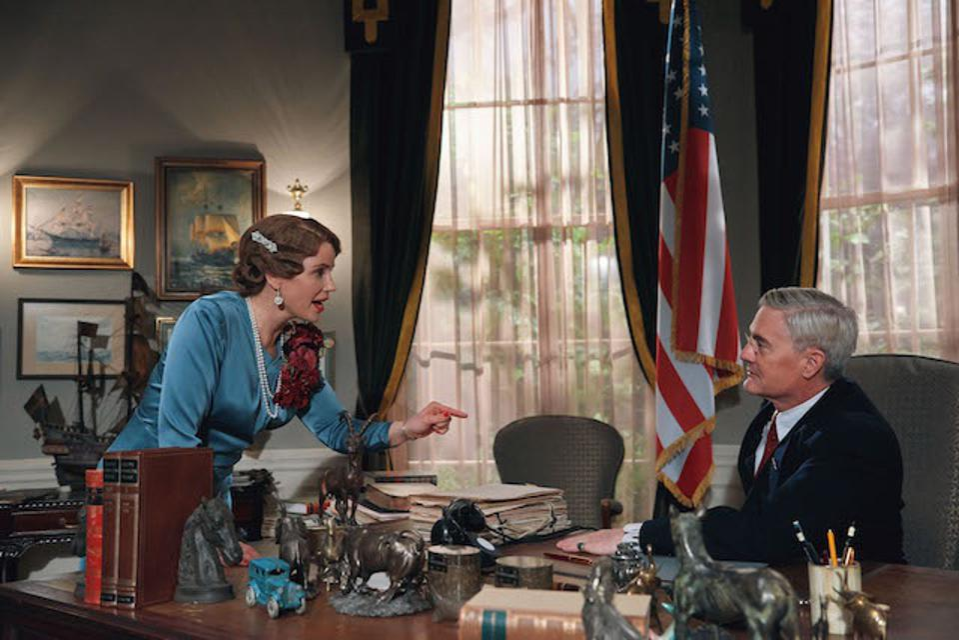Sofia Helin as Crown Princess Martha and Kyle MacLachlan as President Franklin D. Roosevelt