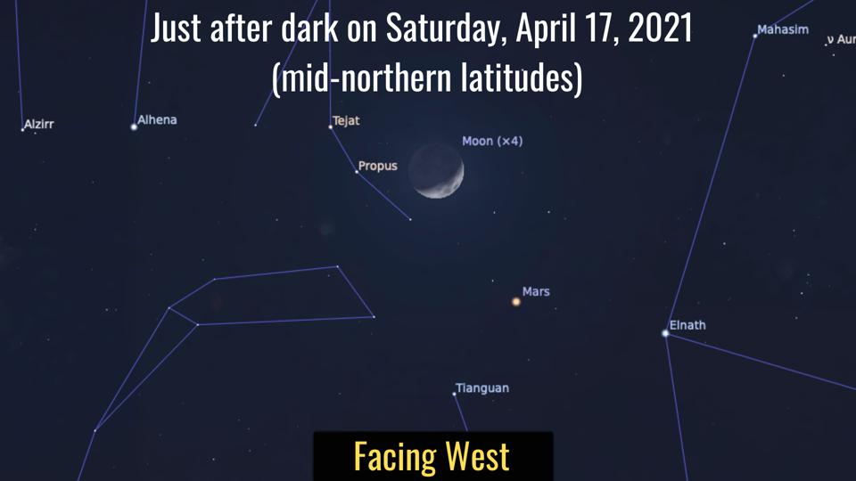 Look to the southwest after dark and you'll the the 'red planet' about 5º from a 23%-lit Moon.