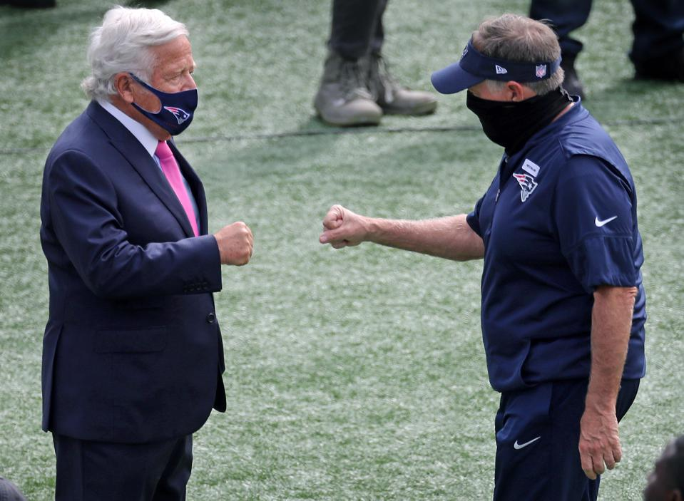 Patriots owner Robert Kraft and head coach Bill Belichick.