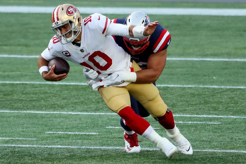 49ers quarterback Jimmy Garoppolo against the Patriots.