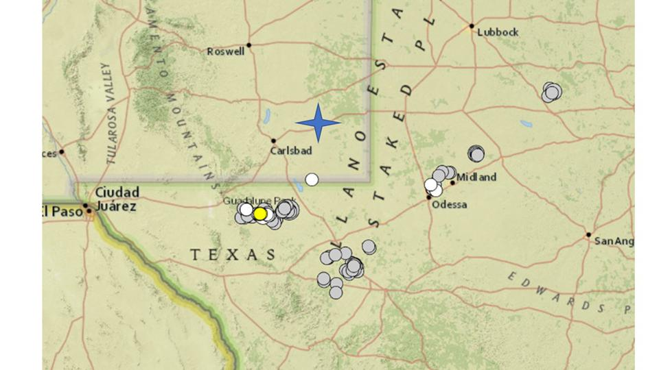 Map of earthquakes of magnitude 3 and greater in Texas just across the border from Carlsbad.