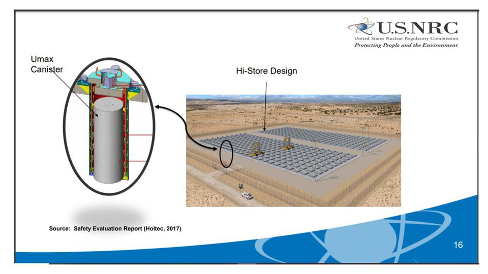 Layout of 500 modules at ground level plus pic of cylindrical canister and its container.