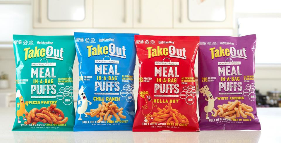 Bags of TakeOut snack puffs.