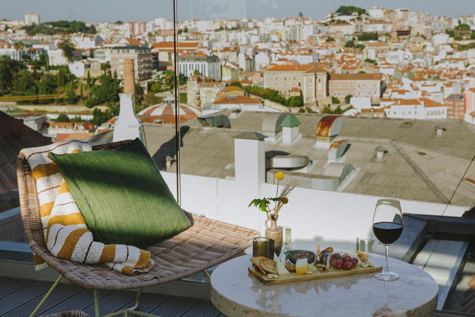 The Lumi Rooftop at the Lumiares hotel in Lisbon, Portugal has views over the city