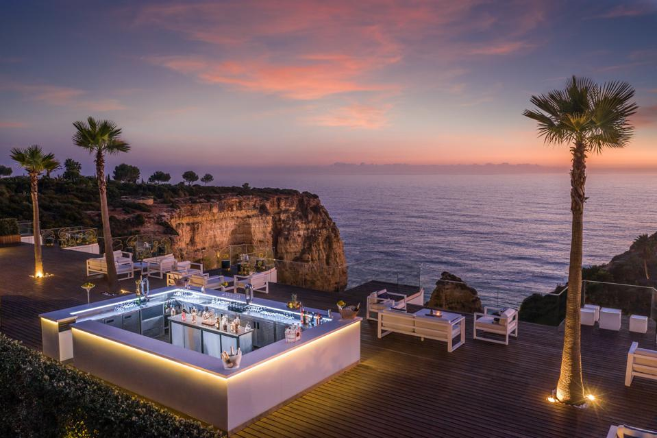 The Sky Bar at Tivoli Carvoiero hotel in the Algarve, Portugal, looks over the Atlantic