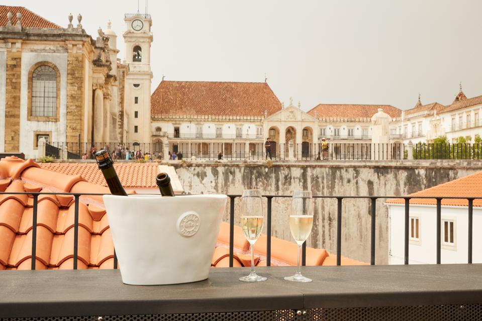 The rooftop of the Sapientia Boutique Hotel in Coimbra, Portugal looks over the university