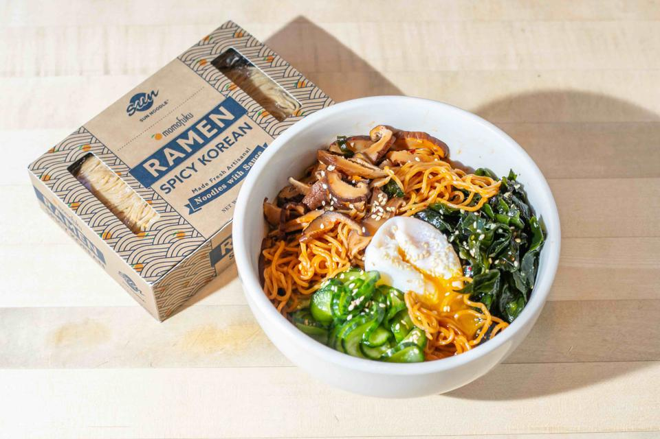 Momofuku's Spicy Korean Ramen kit features Sun Noodle's barley noodle.