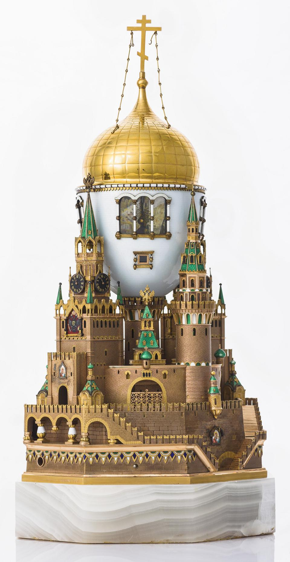 The Moscow Kremlin Egg, Fabergé. Gold, silver, onyx, glass, enamel, oil painting, 1906