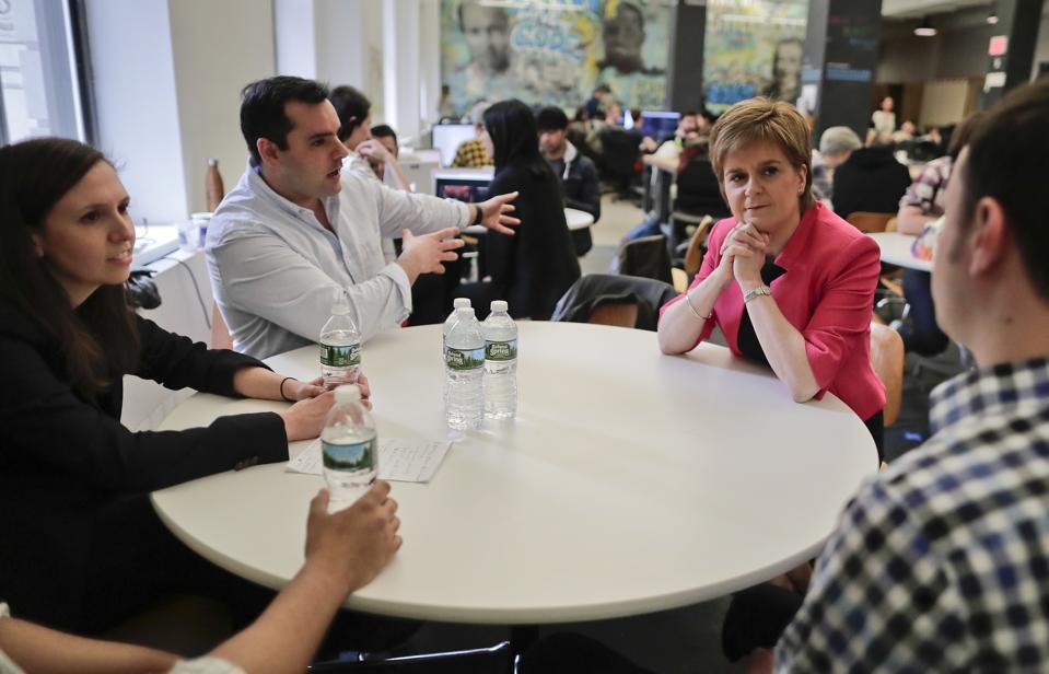 Scotland's First Minister Nicola Sturgeon talks with Flatiron School CEO Adam Enbar.