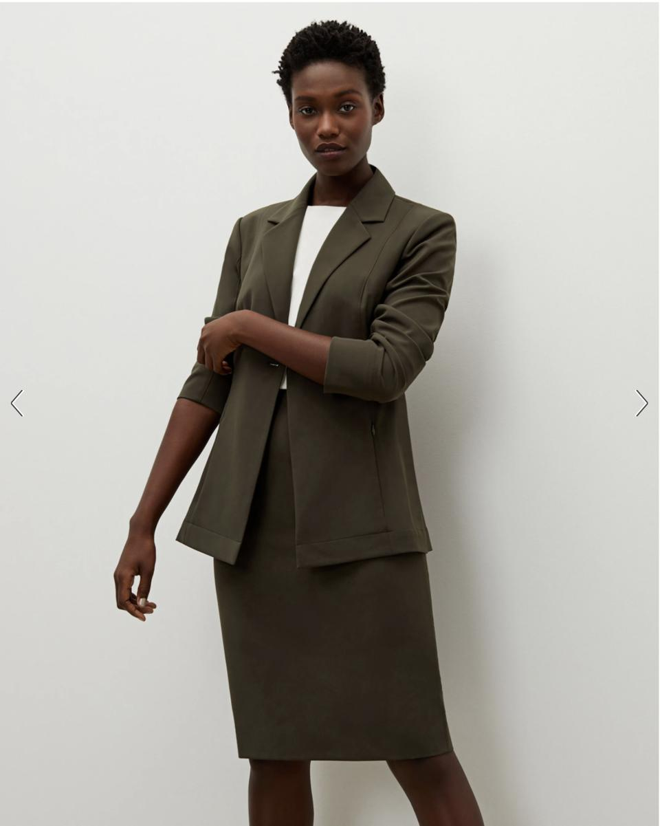 The Best Suit For Women: The Cobble Hill Skirt—OrigamiTech - Olive