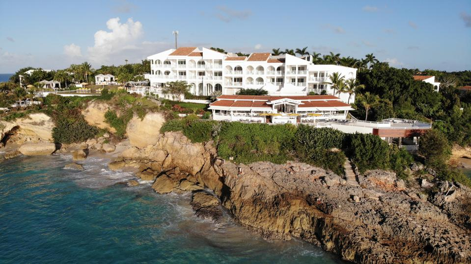A stately hotel near the ocean in Anguilla.