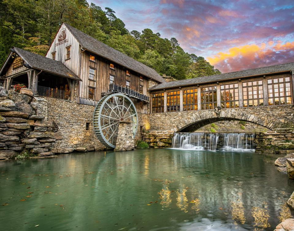 The exterior of a watermill at Big Cedar Lodge.